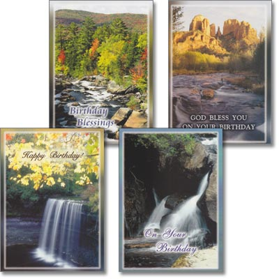 Birthday Cards - Refreshing Streams - Set of 4