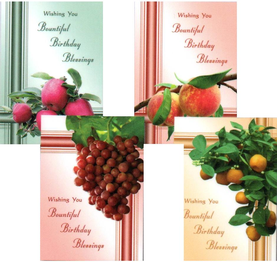 Birthday Cards - Bountiful Blessings - Set of 4 NEW!!!