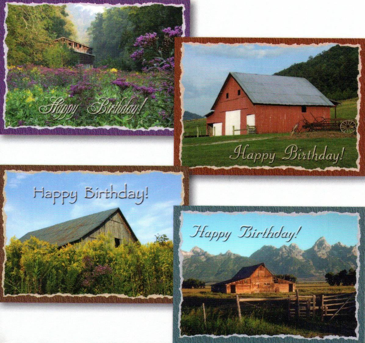 Birthday Cards - Country Barns - Set of 4