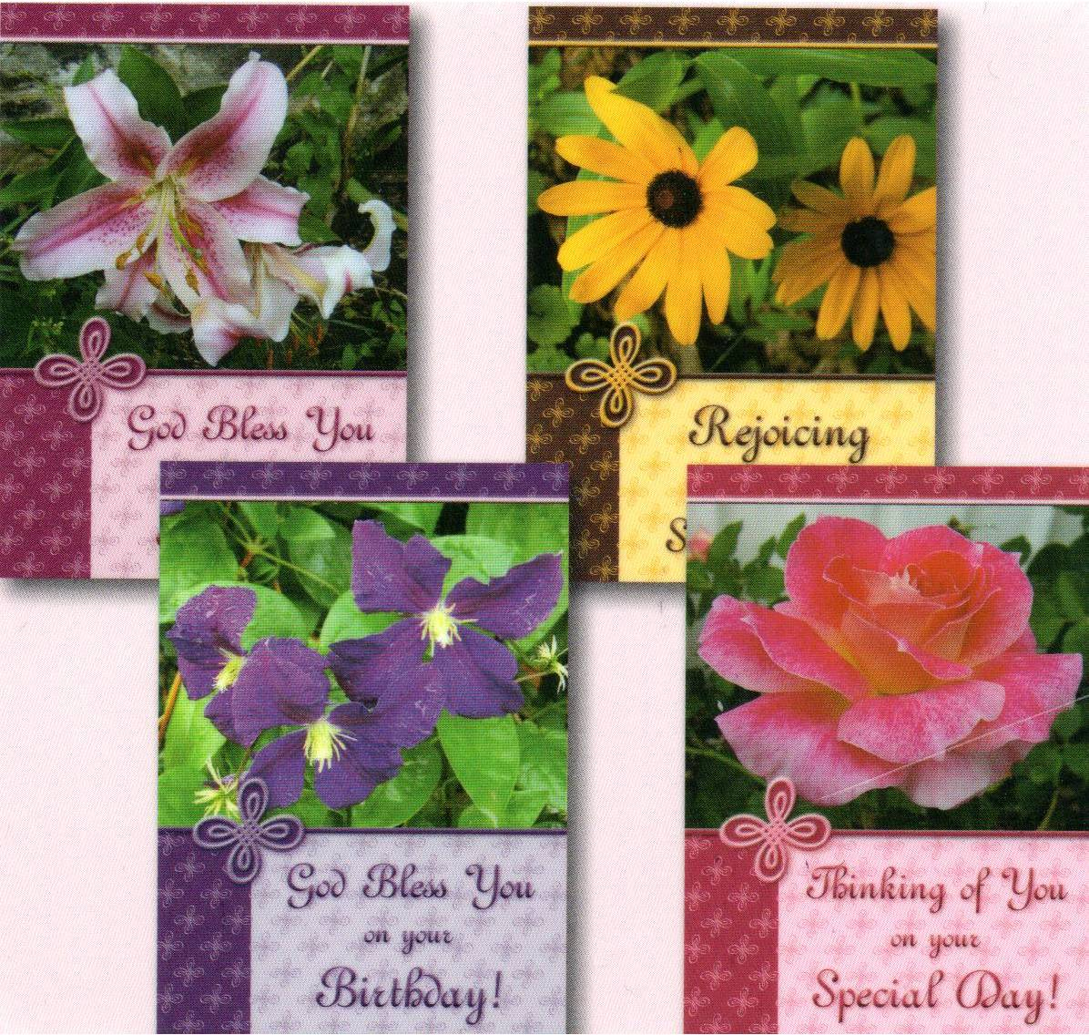 Birthday Cards Flower Garden Set Of 4 500 Heart And Home