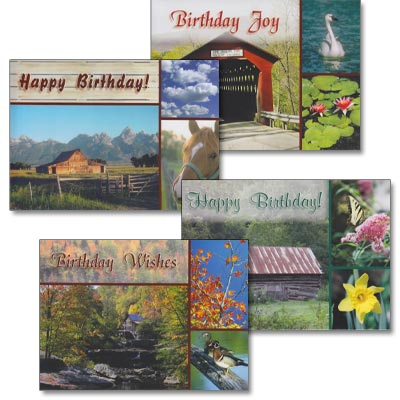 Birthday Cards - Rustic Wishes - Set of 4
