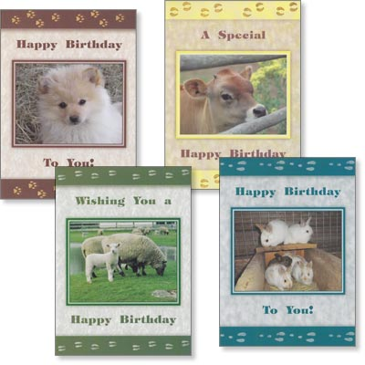Children's Birthday Cards - Farm Friends - Set of 4