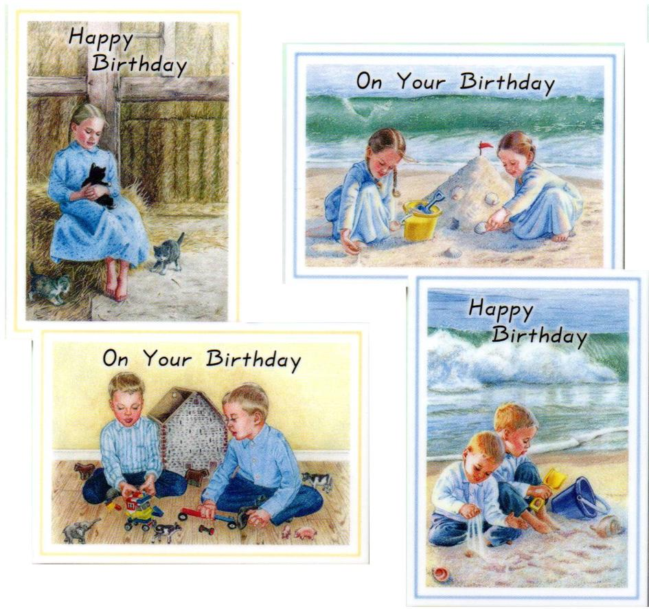 Children's Birthday Cards - Busy Hands - Set of 4