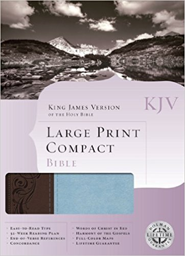 KJV Large Print Compact Reference Bible Blue/Brown LeatherTouch