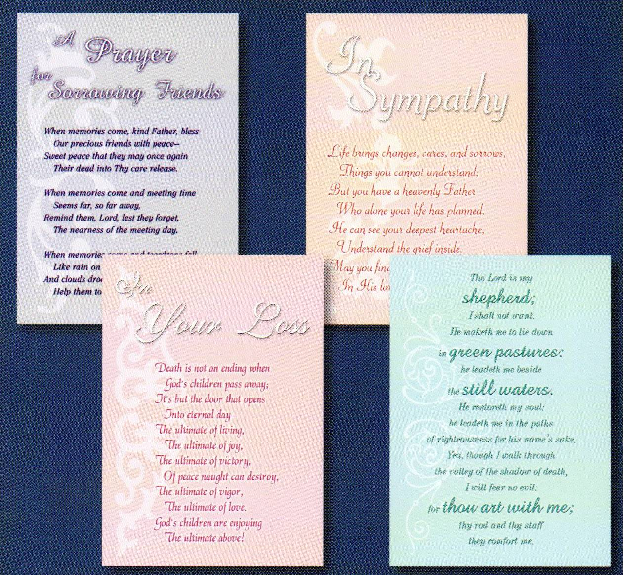 Sympathy Cards - Comfort in Grief - Set of 4 Cards